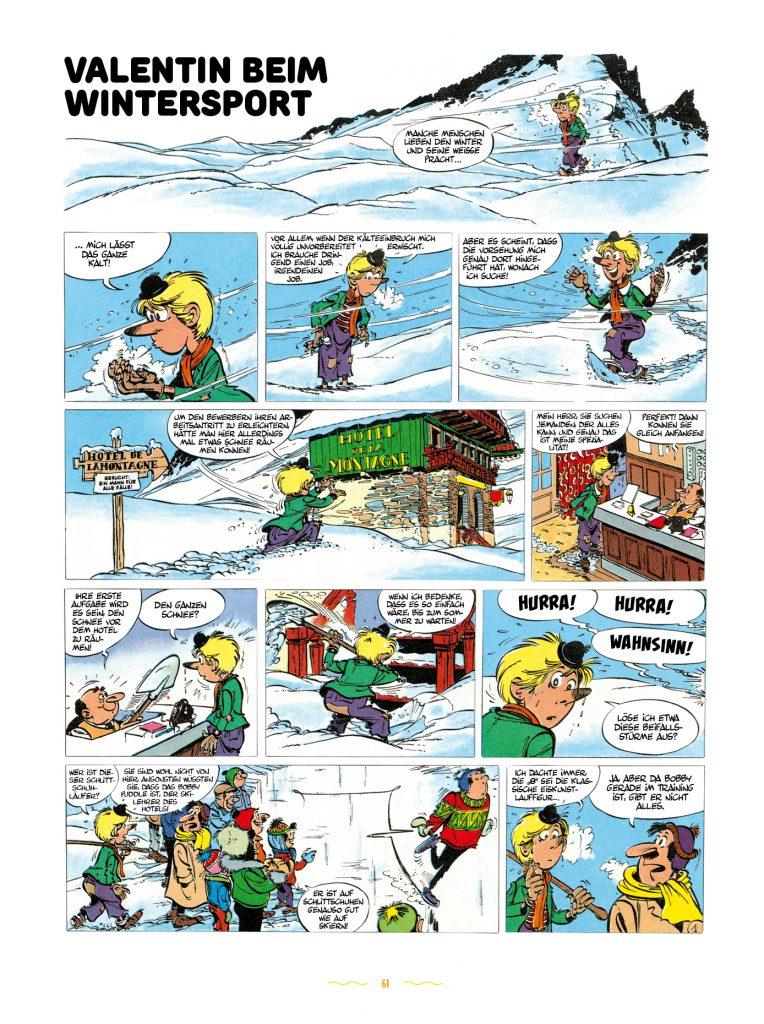 Das Bild zeigt die erste Seite der Geschichte Valentin beim Wintersport. Valentin der Vagabund - der unbekannte Goscinny