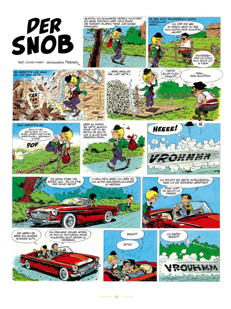 """Das Bild zeigt Seite 1 der Geschichte """"Der Snob""""."""